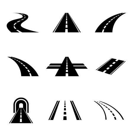 Photo pour Vector black car road icons set. Highway symbols. Road signs - image libre de droit
