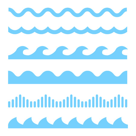 Vector blue wave icons set on white background. Water waves