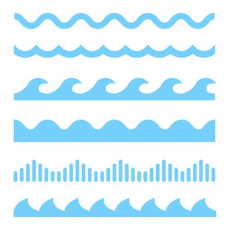 Ilustración de Vector blue wave icons set on white background. Water waves - Imagen libre de derechos