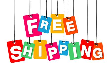 Ilustración de Vector colorful hanging cardboard. Tags - free shipping on white background - Imagen libre de derechos