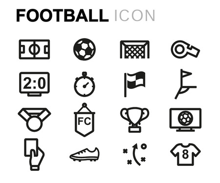 Ilustración de Vector line football icons set on white background - Imagen libre de derechos