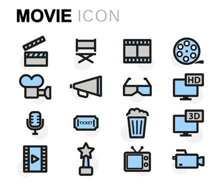 Illustration pour Vector flat movie icons set on white background - image libre de droit