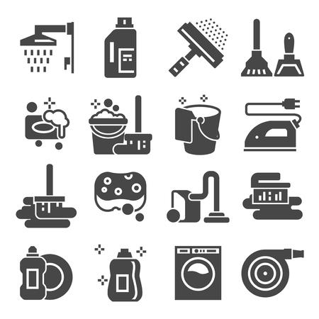 Vektor für Cleaning gray icons set. Laundry, Sponge and Vacuum cleaner signs. Washing machine. Vector illustrations - Lizenzfreies Bild