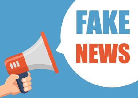 Illustration pour Fake News - Male hand holding megaphone. Flat design. Can be used business company for social media, networks, promotion and advertising. - image libre de droit