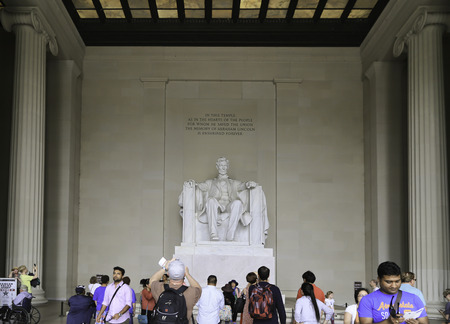 On 1st of June 2014 there was many people from many place come to see the statue of Abraham Lincoln inside the white temple in Washington DC USA