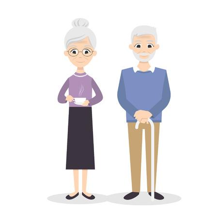 Illustration pour Vector illustration of happy smiling senior couple. - image libre de droit