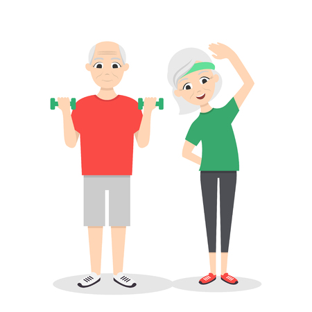 Vector active, happy and healthy senior couple: cartoon man with green dumbbells and woman doing exercises, isolated on white background. Flat vector style.