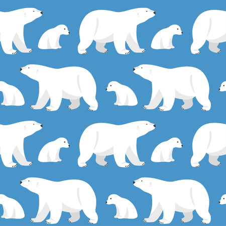 Illustration pour Vector seamless pattern with two polar bears, she-bear and teddy bear on blue background. - image libre de droit