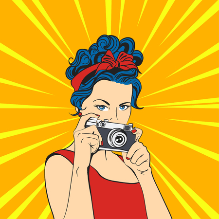 Illustration for Vector illustration of pop art beautiful young woman. Retro Style. Photographer / Woman holding photographic camera. - Royalty Free Image