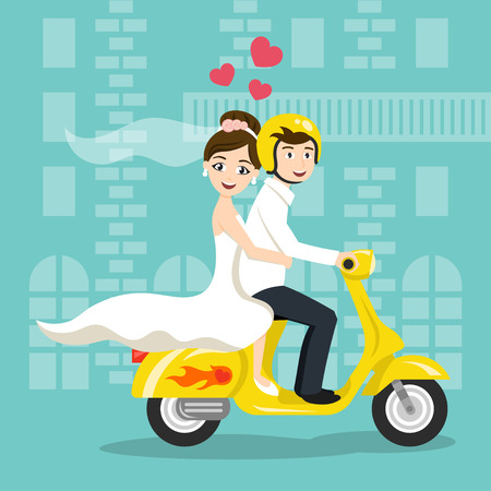 Illustration pour Vector illustration of young happy newlyweds bride and groom riding on scooter. Retro style transport, vintage looking moped. Honeymoon. Vector print for card or poster design. - image libre de droit