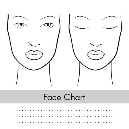 Illustration pour Vector beautiful woman face chart portrait. Female face with open and closed eyes. Blank template for artist makeup. - image libre de droit