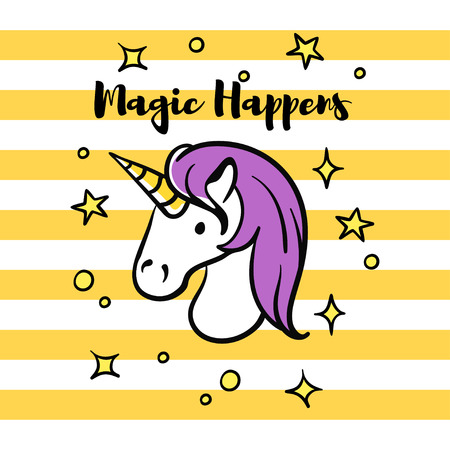 Vector illustration of slogan Magic happens with unicorn and stars. T-shirt print.