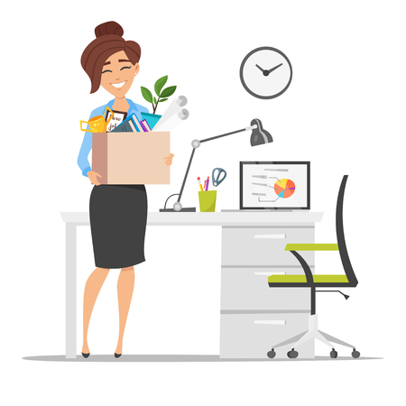 Illustration pour Vector flat style illustration of successful smiling business woman holding cardboard box with work stuff at a new workplace. New job concept. Isolated on white background. - image libre de droit
