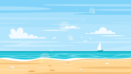Illustration pour Vector cartoon style background of sea shore. Good sunny day. - image libre de droit