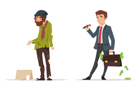 Illustration pour Vector cartoon style characters. Poor and rich man. Isolated on white background. - image libre de droit