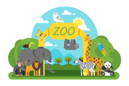 Vector flat style illustration of animals standing at the zoo entrance. Good sunny day. Isolated on white background.