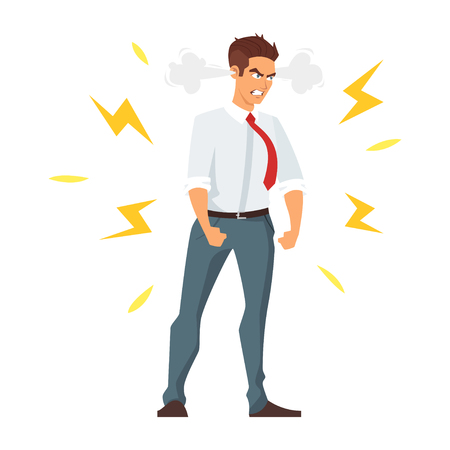 Illustration pour Vector cartoon style illustration of angry businessman. Isolated on white background. - image libre de droit