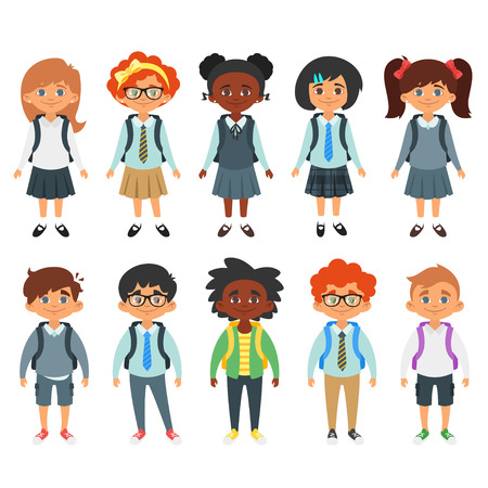 Vector Cartoon Style Set Of International School Kids Boys