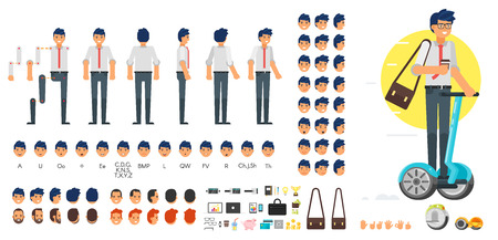 Ilustración de Vector flat style businessman character creation set for animation. Different emotions, hairstyles and gestures. Front, side and back view of character. Business icons. Isolated on white background. - Imagen libre de derechos