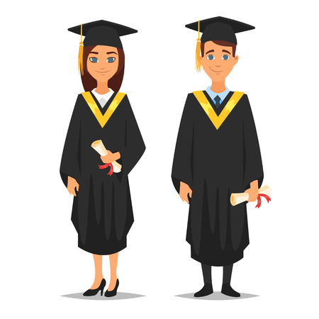 Vector cartoon style characters young proud man and woman graduates, isolated on white background