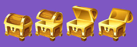 Illustration pour Vector cartoon style illustration of treasure chest for animation. Open and closed antique box. Isolated on white background. Game user interface (GUI) element for video games, computer or web design. - image libre de droit