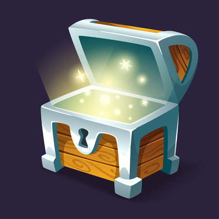 Illustration for Vector cartoon style illustration of open shining treasure chest. Isolated on dark background. Game user interface (GUI) element for video games, computer or web design. - Royalty Free Image