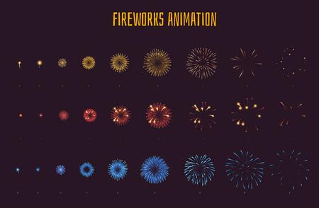 Illustration pour Vector cartoon style set of game fireworks explode effect burst sprites for animation. Game user interface (GUI) element for video games, computer or web design. Explosion frames. - image libre de droit