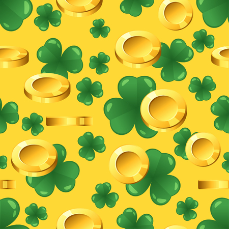 Illustration pour Vector seamless pattern with golden coins and shamrock on yellow background. St. Patrick's day ornament. - image libre de droit