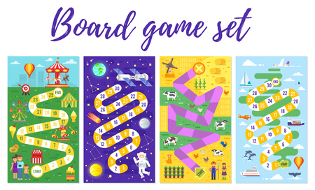Illustration pour Vector flat style set of kids colorful boardgame template; amusement park, space, farm and travel theme game. For print. Vertical composition. - image libre de droit