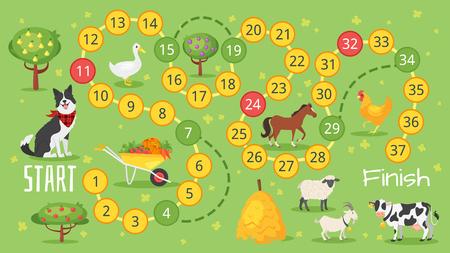 Illustration pour Vector flat style illustration of kids farm board game template. For print. - image libre de droit