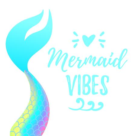 Vector cartoon style illustration of cute mermaid tail. Mermay concept. Mythical marine princess.