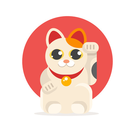 Illustration pour Vector flat style illustration of Japanese Lucky Cat Maneki Neko. Icon for web. Isolated on white background with yellow circle. - image libre de droit