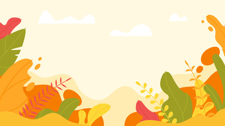 Illustration pour Vector flat style background with simple abstract leaves. Minimalism design. Floral autumn background. - image libre de droit