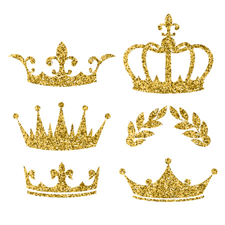 Illustration pour Vector cartoon style set of royal crowns  with golden glitter effect. Decoration item for your selfie photo and video chat filter. Isolated on white background. - image libre de droit
