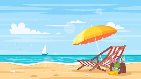 Illustration for Vector cartoon style background of sea shore. Good sunny day. Deck chair and beach umbrella on the sand coast.  - Royalty Free Image