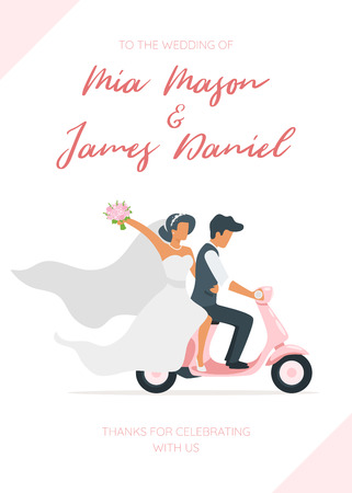 Vector flat style illustration of man in suit and woman in wedding dress riding on scooter. Retro style transport. Marriage day. Classical style of clothes. Save the date invitation template.のイラスト素材