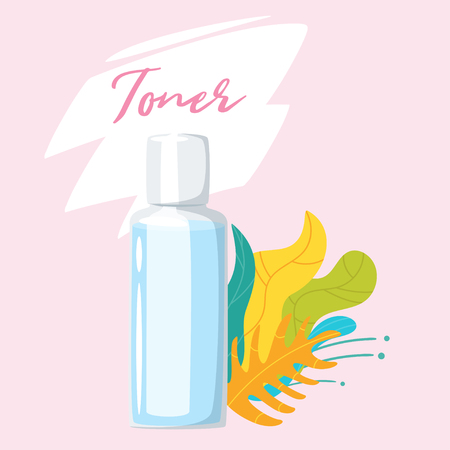 Illustration pour Toner - cosmetic care product in bottle and green leaves decorations. Vector illustrations isolated on pink background. - image libre de droit