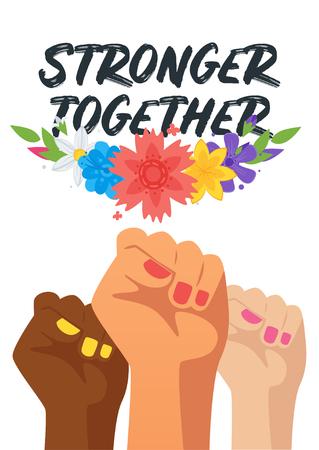 Ilustración de Woman's day greeting card or poster design template with multiracial woman fists. - Imagen libre de derechos