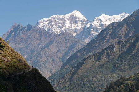 Photo pour Saula mountain peak view from Manaslu trekking route, Himalaya mountains range in Nepal, Asia - image libre de droit