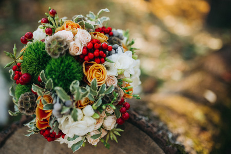 Bridal bouquet fall wedding with copy space for your text.