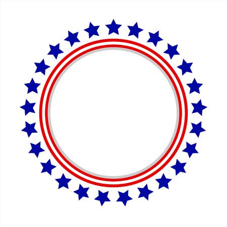 Ilustración de Round frame American flag stylized logo, symbol, emblem - Imagen libre de derechos