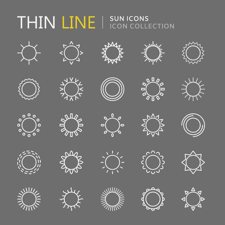 Collection of sun thin line icons