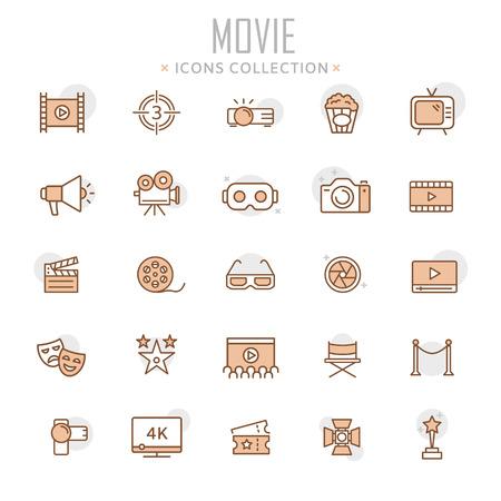 Illustration pour Collection of movie thin line icons illustration. - image libre de droit