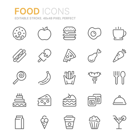 Illustration pour Collection of food related line icons. 48x48 Pixel Perfect. Editable stroke - image libre de droit
