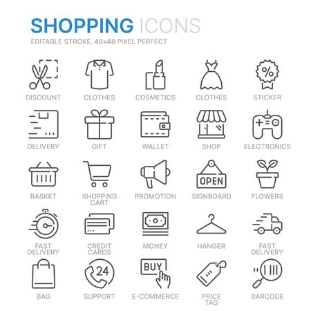 Illustration pour Collection of shopping related line icons. - image libre de droit