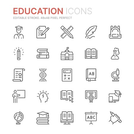 Illustration pour Collection of education related line icons. 48x48 Pixel Perfect. Editable stroke - image libre de droit