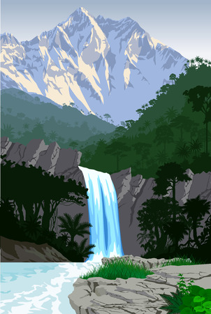 Illustration for vector beautiful waterfall in jungle rainforest mountains - Royalty Free Image