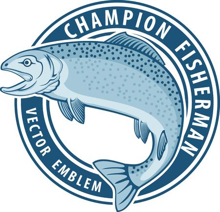 Foto de Vector fishing emblem label with salmon fish - Imagen libre de derechos