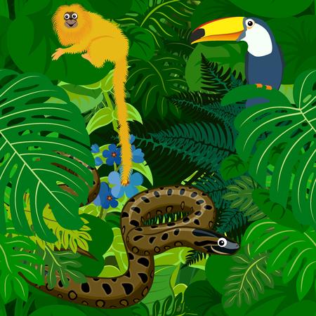 Illustration pour Seamless tropical rainforest Jungle background with kids animals - image libre de droit