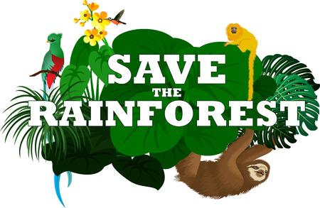 Illustration pour vector illustration with jungle rainforest animals - sloth, quetzal and monkey - image libre de droit
